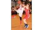 Jazmine Anderson (12) gets fouled as she drives to the hoop versus Lewisburg.